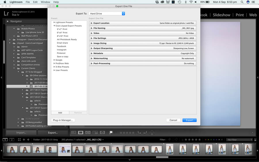 Sharing & Exporting images in Lightroom Classic CC